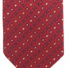 Valeriano Silk Necktie Extra Long 64 Tie Red Mod Flowers Jaquard Blue White Yellow Dot