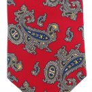 Gilbert Lodge Red Paisley Necktie Tie Blue Yellow Gray Italian Silk 55