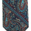 "Wembley Vintage Necktie 58"" Paisley Aqua Blue Red Tan Skinny Classic Modern"