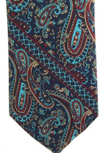 "Wembley Vintage Necktie 58"" Paisley Aqua Blue Red Tan Skinny Classic Modern"