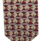 Cotswold Collection Necktie Italian Silk Diamonds Shells Fan Maroon Tan White 58
