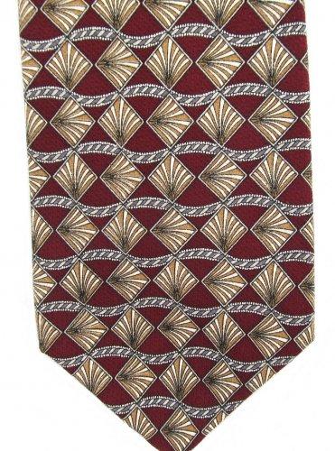 Cotswold Collection Necktie Italian Silk Diamonds Shells Fan Maroon Tan White 58