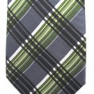 Geoffrey Beene Plaid Skinny Necktie Mens Tie Silk Green Charcoal Gray White 58