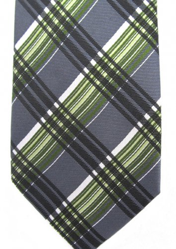 Geoffrey Beene Plaid Skinny Necktie Mens Tie Silk Green Charcoal Gray White 58