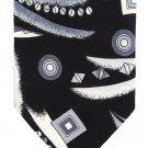 "Fie Rezza Italian Silk Necktie Extra Long 60"" Mens Funky Modern Tie Black White Abstract Art"