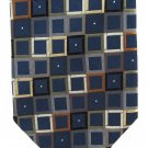 Peacock Luxury Silk Tie Mens Necktie Mod Squares Blue Black Gold Rust 59