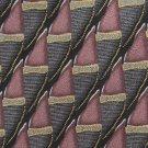 "Louis Roth Long Necktie 59"" Italian Silk Plum Gray Black Gold Mod Stripe Scroll Hand Sewn"