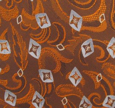 Joseph Abboud Woven Silk Tie Mens Necktie Paisley Feather Mod Copper Orange Gray Tapestry