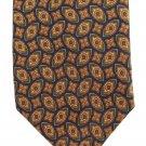 Bert Pulitzer Silk Necktie Small Print Oval Medallions Flower Olive Green Blue Gold Short 55