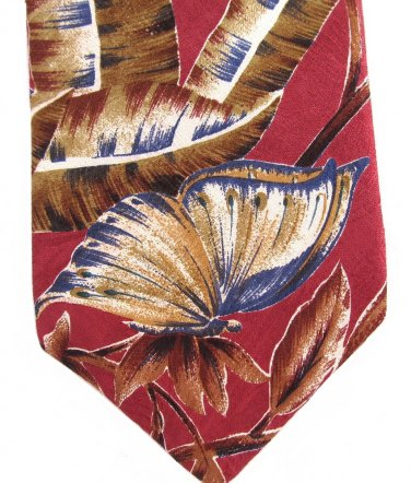 Je Suis Butterfly Necktie Jacquard Silk Rose Blue Teal Gold Nature Forest Palm Tree 55