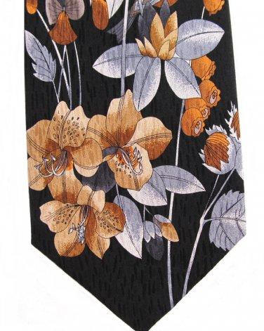 Floral Silk Necktie Stonehenge Cocktail Colors Metallic Black Silver Gold Copper Long 59