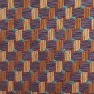 Daniel De Fasson Woven Silk Necktie Tie Brown Tan Purple Mod Squares Diagonal Stripe 58