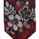 Tropical Hawaii Vintage Necktie Hibiscus Flower Red Silver Island Palm Tree Novelty Long Tie 59