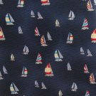 Jos A Bank Extra Long 60 Silk Necktie Sailboat Nautical Boats Dark Blue Cream Red