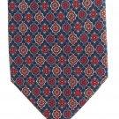 Misto Seta Italy Silk Necktie Vintage Foulard Flower Medallion Dark Blue Tan 58