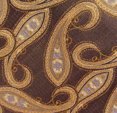 Daniel Cremieux Luxury X Long 60.5 Silk Necktie Tie Woven Paisley Brown Gold Periwinkle