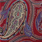JOS A Bank Silk Necktie X Long 60 Tie Jacquard Paisley Woven Gold Maroon Periwinkle Executive