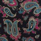 Christian Dior Italian Silk Necktie Mens Tie Paisley Black Magenta Aqua 58 Classic Executive