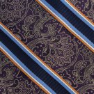 JOS A Bank Paisley Long 60 Silk Necktie Mens Tie Brocade Stripe Purple Gold Blue