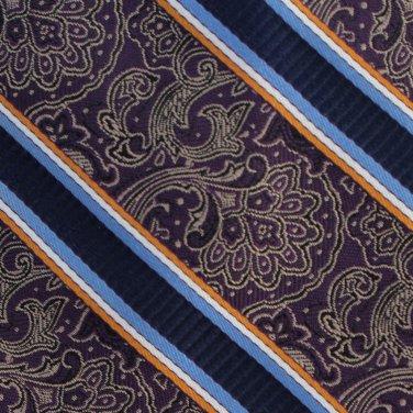 JOS A Bank Paisley Long 60 Silk Necktie Mens Tie Brocade Stripe Purple Gold Blue