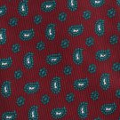 Ferrell Reed Vintage Silk Gabardine Necktie Mad Men Paisley Dark Crimson Red Kelly Green 58