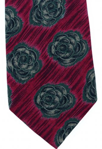 Giorgio Armani Cravatte Italy Silk Necktie Tie Maroon Red Green Flower Rose 57