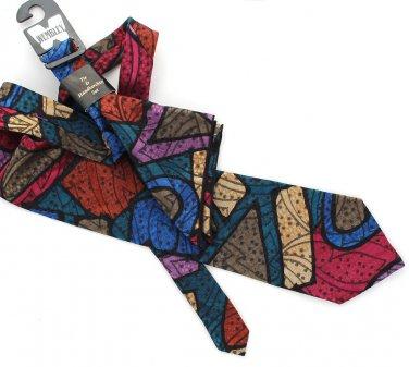 Wembley Necktie Pocket Square Handkerchief Tie Modern Stained Glass Metallic Gold Teal Raspberry 57