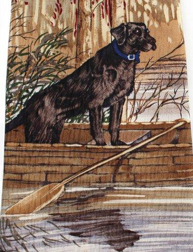 Black Lab Necktie Silk Labrador Retriever Wood Canoe Hunting Fishing Outdoors Endangered Species