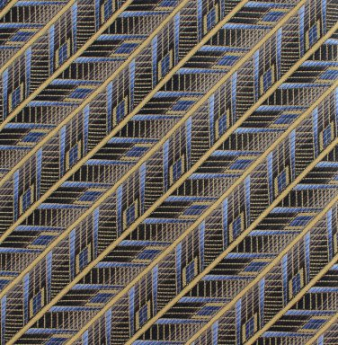 Pronto Uomo Italian Silk Necktie Mens Tie XL 65 Woven Gold Black Blue Stripe Geometric