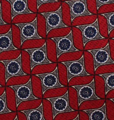 Robert Talbott Best Of Class Necktie Mens Silk Tie Woven Crimson Blue Gray Abstract Star Medallion