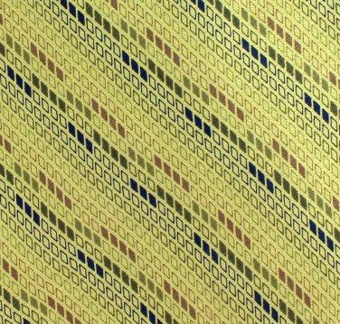 Lime Green Italian Silk Necktie Murano Long 59 Tie Small Blue Geometric Stripe