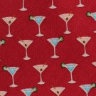 Martini Glass Necktie Tommy Bahama Linen Silk Tie Party Beach Off Island Crimson Red 57 Inch