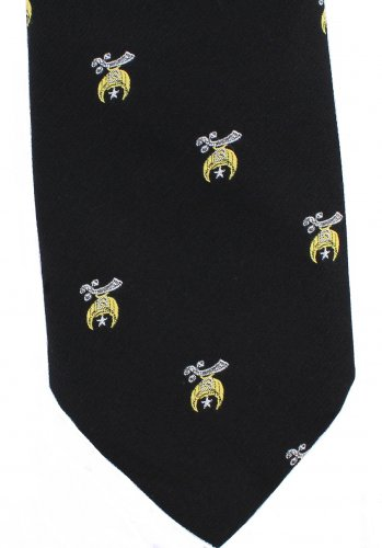 Shriners Necktie Clip On Tie Black Gold White Vintage Polyester Narrow