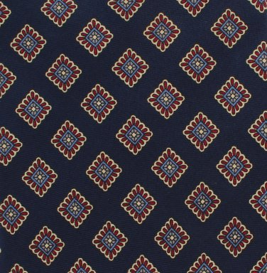 Executive Of Boston Silk Necktie Classic Small Diamond Floral Navy Blue Gold Vintage 57