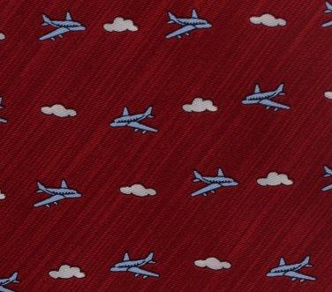 Respighi Italy Airplane Necktie Mens Silk Tie Long 59 Aviation Travel Plane Maroon Blue Clouds