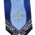Fratello Art Nouveau Necktie Royal Ice Blue Navy Medallion Polyester 57.5