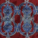 Art Nouveau Necktie Ketch Scroll Column Dark Crimson Blue Classic Executive 59