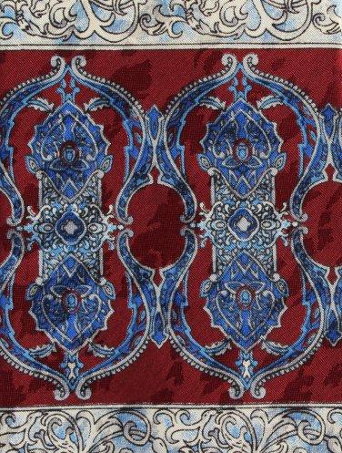 Art Nouveau Necktie Ketch Scroll Column Dark Crimson Blue Classic Executive 59
