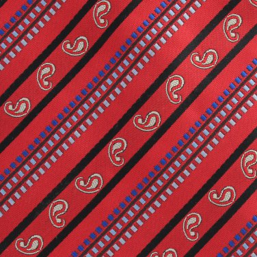Jean Paul Necktie 60 Extra Long Red Black Gold Paisley Small Stripe Executive Mens Tie Italy