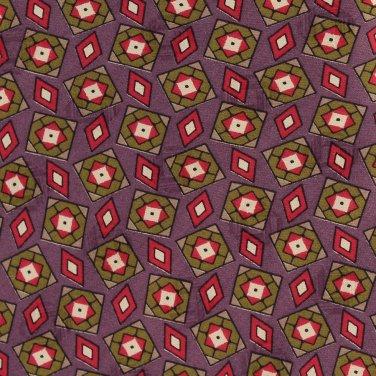 "Villa Bugatti Italian Silk Necktie 59"" Mens Tie Plum Foulard Boxes Diamond Olive Green Mod Executive"