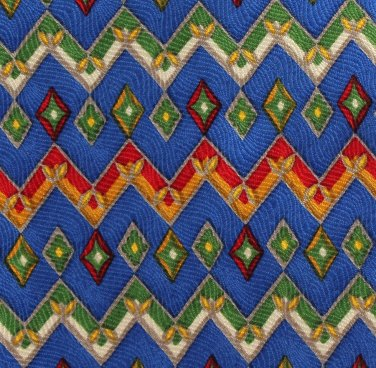 Paul Fredrick Silk Necktie Mens Tie Colorful Royal Blue Red Green Mustard Zig-Zag 57