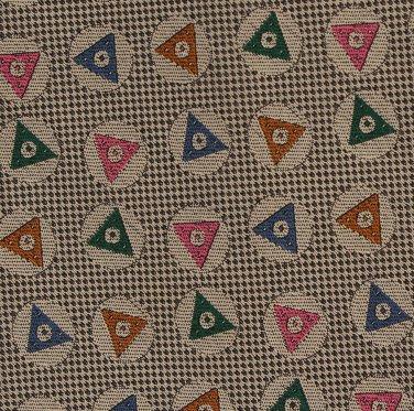 Harold's Silk Necktie Khaki Gold Triangle Woven Modern Green Blue Orange Pink 58