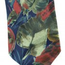 Tropical Leaf Fern Necktie Mens Silk Tie Roberts Churchill Nature Forest Green Blue 58