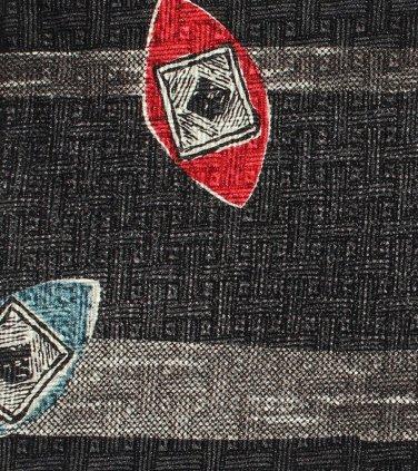 Surrey Italian Silk Necktie Mens Tie Modern Surfboard Shield Black Red Aqua 56