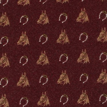 Horse Head Necktie Horseshoe Lands End Long 60 Tie Hickory Brown Equestrian Novelty