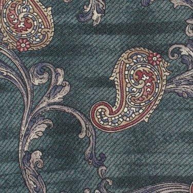 Mod Paisley Silk Tie Peacock Green Tan Stripe Classic Business Executive Henry Grethel