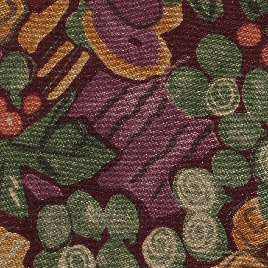 Abstract Fruit Flower Italian Silk Necktie Mens Tie Plum Grape Leaf Green Park Co