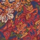 Palomino Extra Long 61 Silk Necktie Mens Tie Floral Mod Flowers Mustard Cranberry Blue