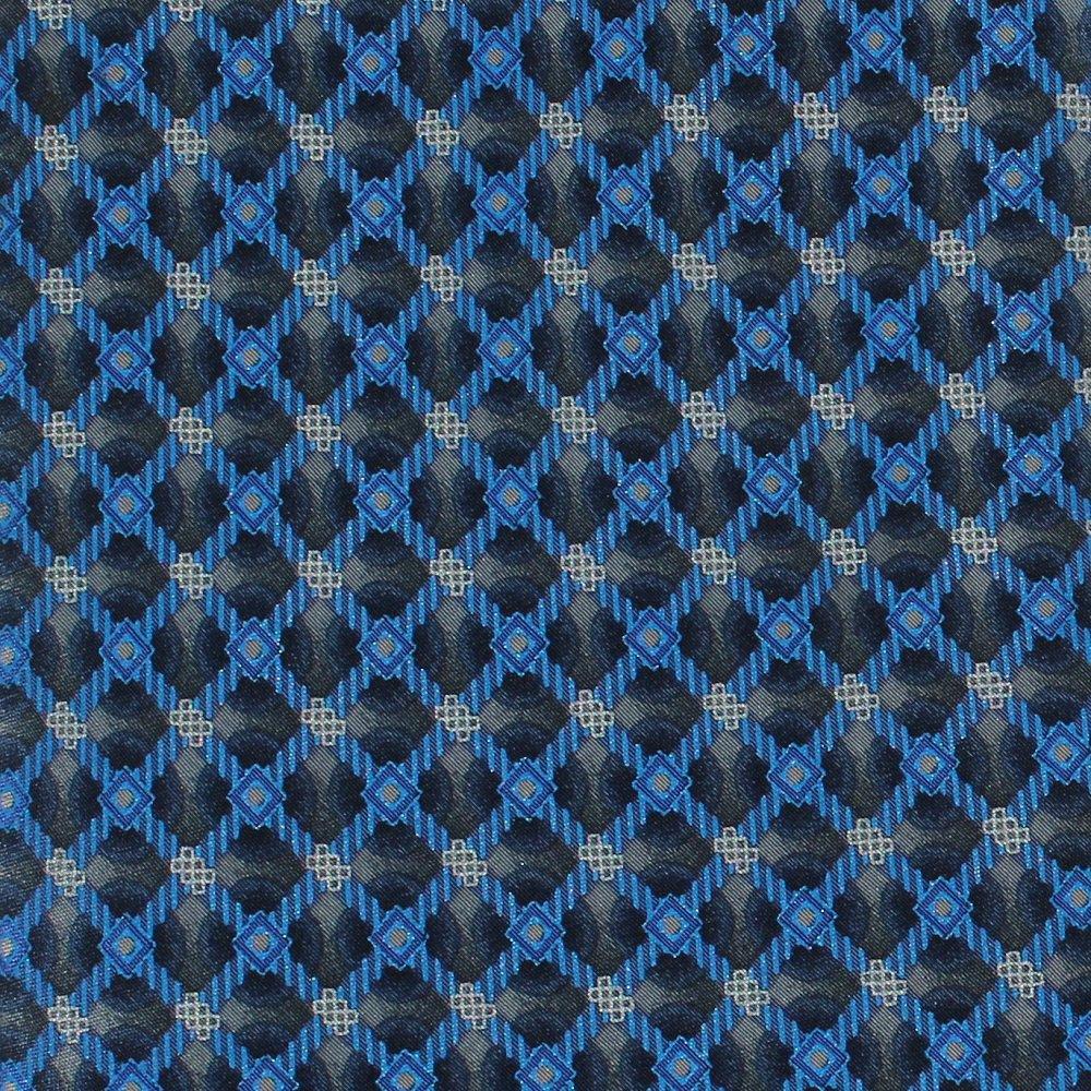 Oleg Cassini Italian Silk Necktie Mens Tie Royal Blue Gray Black Diamond 58