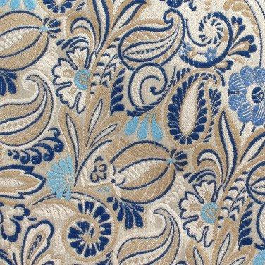 Bruno Piattelli Woven Silk Necktie Tie XL 62 Paisley Brocade Cream White Blue Tan